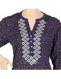 """""""Blue Sunset"""" Cotton Moroccan kaftan with embroidery (NM-1084)"""