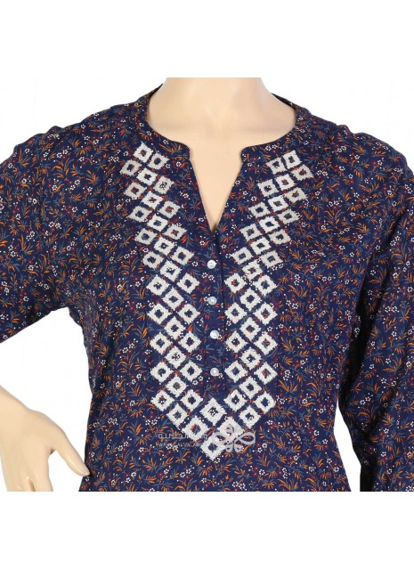 """Blue Sunset"" Cotton Moroccan kaftan with embroidery (NM-1084)"