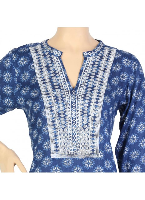 Brandy Love Shantung kaftan with embroidery and beads (N-14370-6)