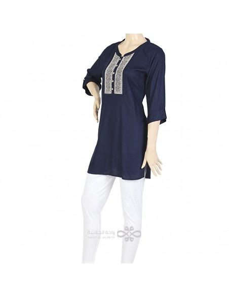 """""""Marylyn Right"""" Chiffon and velvet kaftan with embroidery (N-14257-1)"""