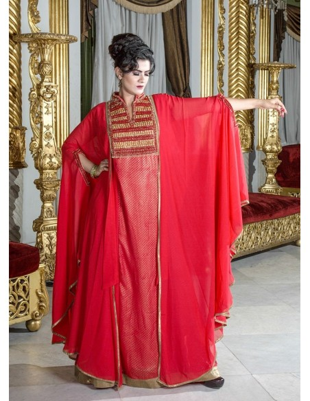 """""""Always and Forever kaftan"""" Cotton kaftan with jacquard, print, and embroidery (N-14133-20)"""