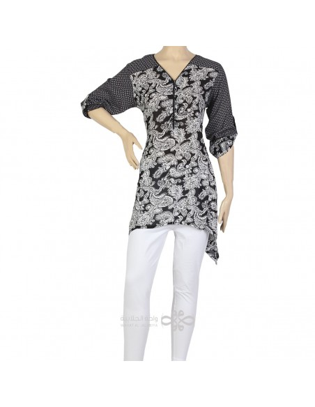 """""""Calm Appeal"""" Chiffon lace kaftan with chest embroidery (WN-869-4)"""