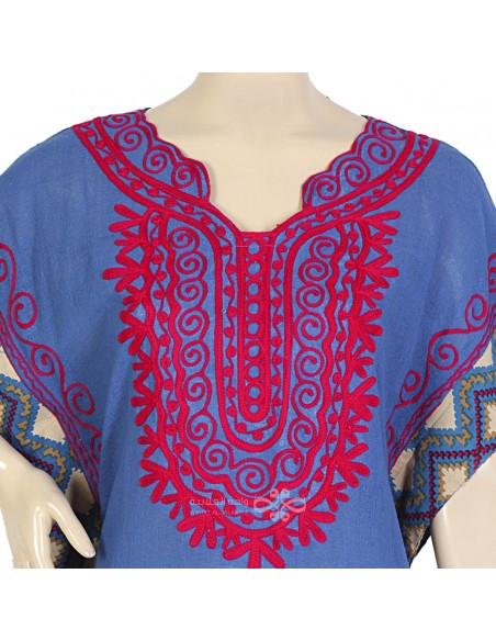 """""""Wanderlust"""" Cotton kaftan with jacquard and accessories (N-14374-15)"""