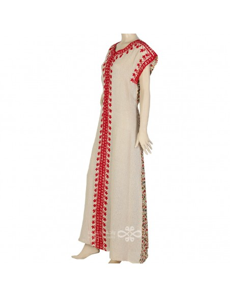 """""""Elegance is my name"""" Printed cotton fabric kaftan with beautiful embroidery on the chest (N-15161-3)"""