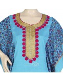 """Nice Look"" Cotton kaftan with embroidery on the chest and cuffs (N-14790-10)"