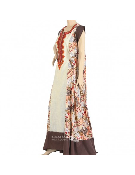 """Fashion Trend"" Colorful chiffon kaftan with embroidery and elegant belt (WN-917-20)"