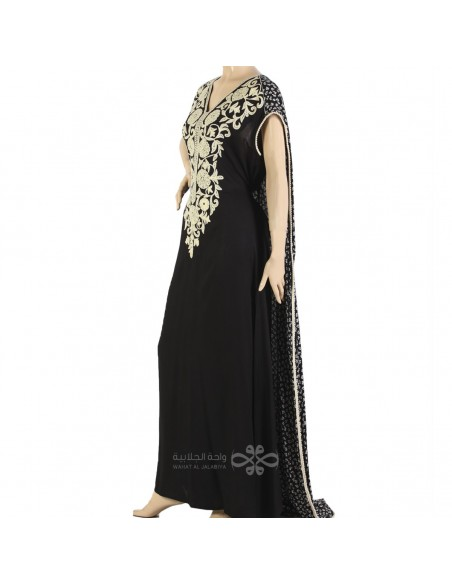 """""""Royal Look"""" Satin fabric kaftan with elegant embroidery and attractive belt (WN-908-4)"""