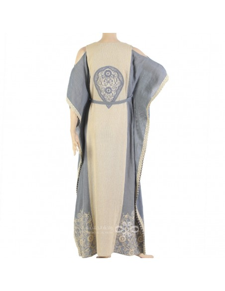 """""""Golden Rose"""" Printed cotton brasso jilbab with stylish embroidery (N-14624-1)"""