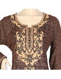 """""""Charming Rose"""" Printed cotton jilbab with roses and beautiful embroidery (N-15430-14)"""