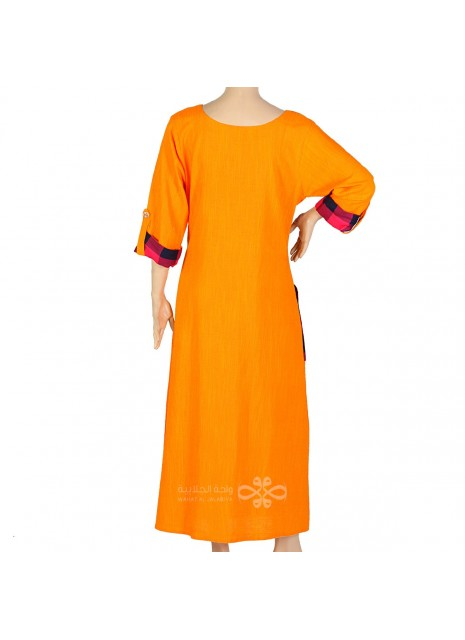 """""""Mignonne"""" Printed cotton jilbab with large sleeves and embroidery (N-15210-8)"""