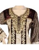 """Unique Taste"" Printed cotton jilbab with embroidery and rhinestones on the chest (N-14620-5)"