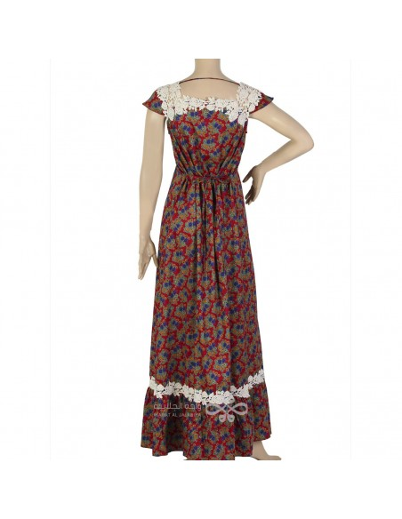 """""""Comfortable Elegance"""" Printed cotton kaftan with embroidery (N-15387-19)"""