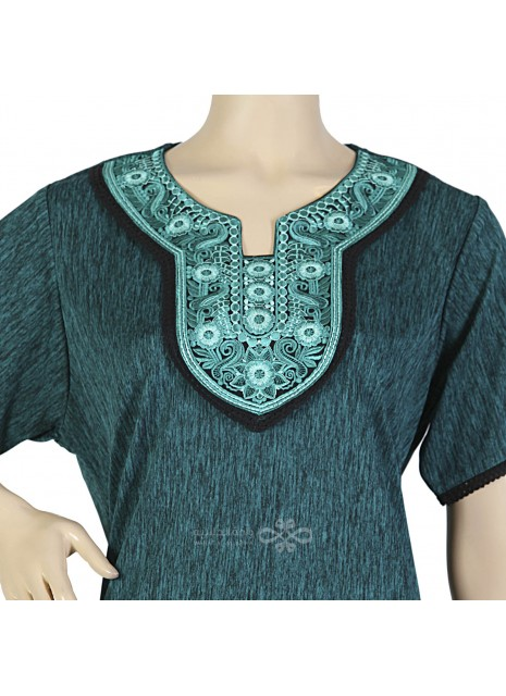 """Personal Charm"" Printed cotton and velvet kaftan with elegant embroidery (N-15372-1)"