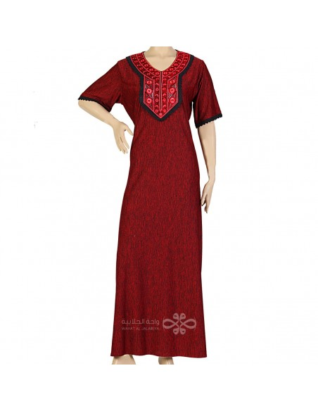"""Mademoiselle"" Cotton kaftan with thread embroidery and an elegant belt (WN-939-17)"