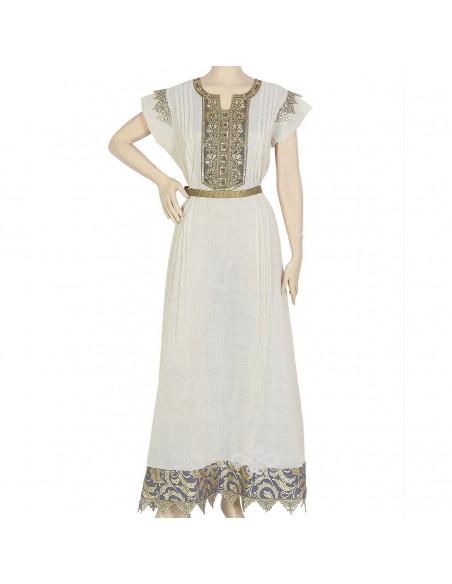 """Dana Tatum"" Shantung kaftan with sari fabric and embroidery (N-13266-20)"
