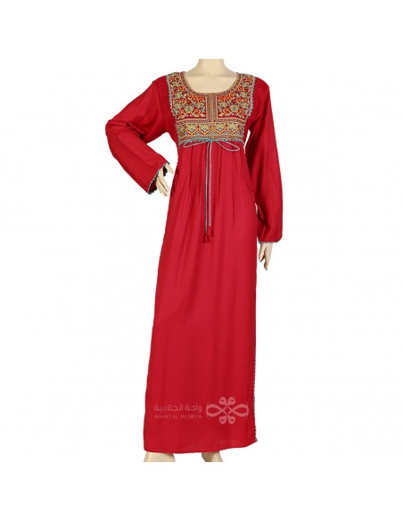 """Lovely Look"" Satin kaftan with floral printed design and stripes on the chest (N-15510-1)"