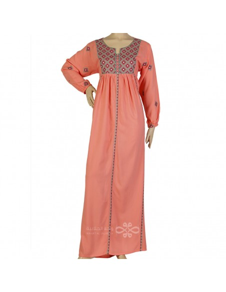 """Mon Ange"" Pink printed satin kaftan with handmade embroidery (N-15514-8)"