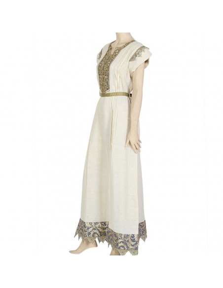 """""""Silver Thimble Rose"""" Brasso fabric kaftan with embroidery (N-14942-1)"""