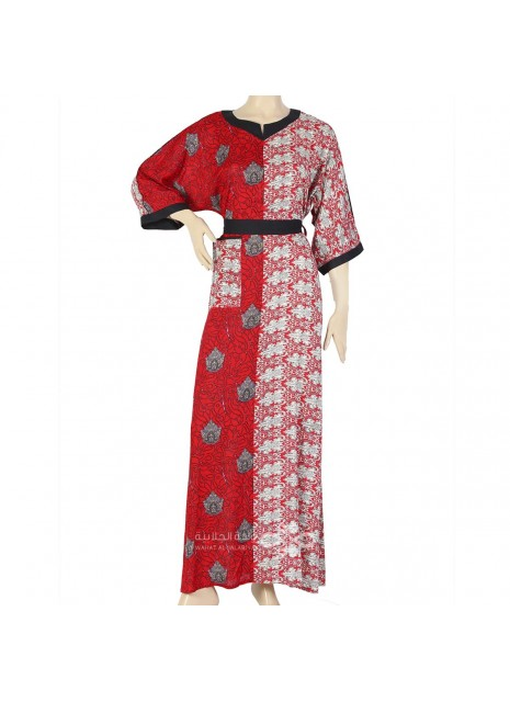 """""""Blue Rose"""" Printed satin kaftan with handmade embroidery on the chest (N-15549-1)"""