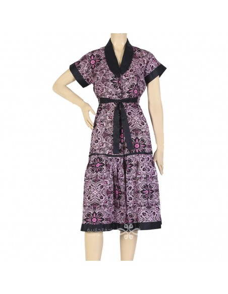 """""""Classy Style"""" Printed satin kaftan with an elegant embroidery on the chest (N-15550-10)"""