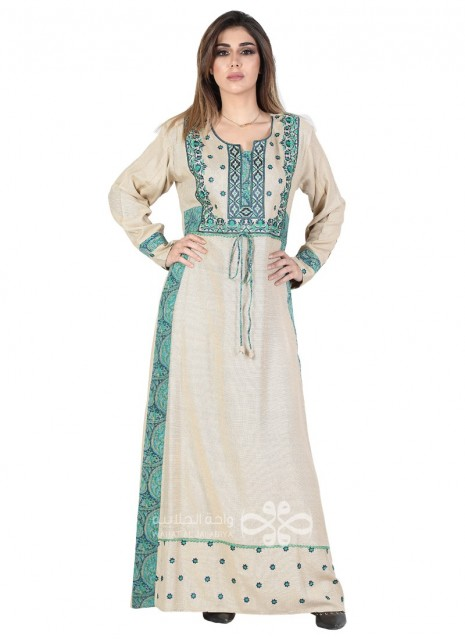 """Cute Smile"" Printed cotton kaftan with floral design and French style sleeves (WN-940-12)"