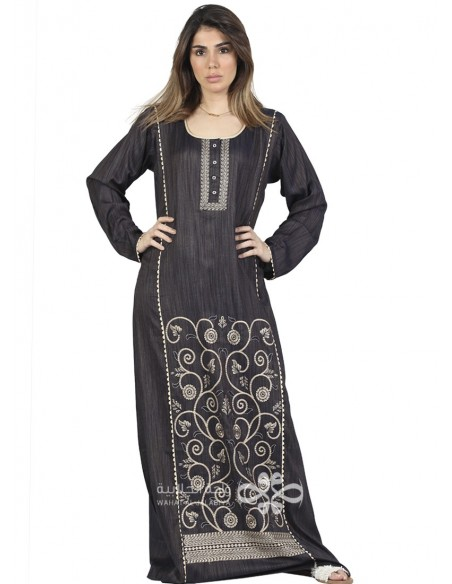 """Royal Blue"" Velvet and brasso kaftan with classic embroidery on the chest (WN-951-11)"