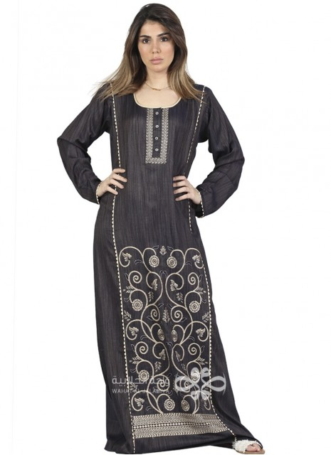 """""""Royal Blue"""" Velvet and brasso kaftan with classic embroidery on the chest (WN-951-11)"""