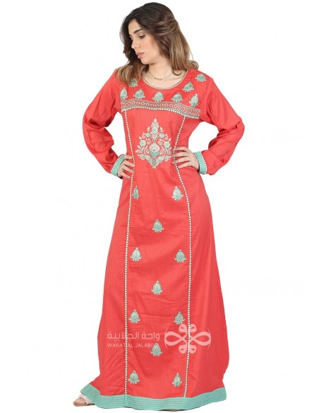 """This is Mine"" Orange chiffon kaftan with handmade embroidery (N-14881-14)"