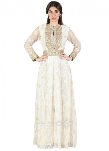 """""""Golden Red"""" Printed chiffon brasso jilbab with embroidery (N-15586-5)"""