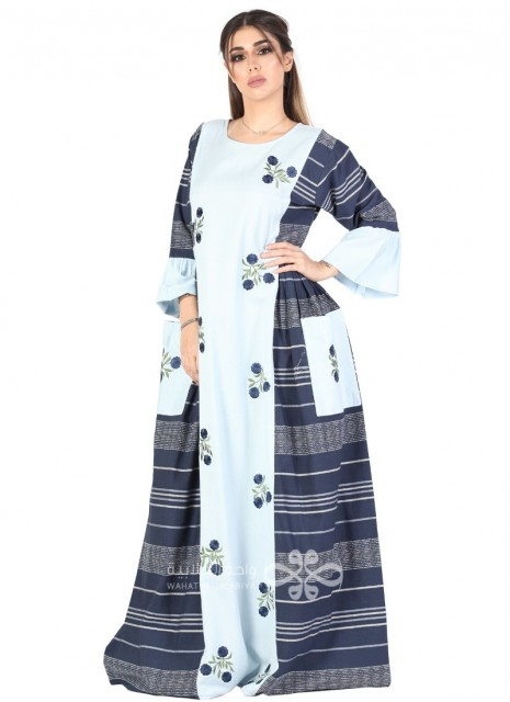 """Warm Breeze"" Printed cotton jilbab with stylish sleeves (WN-1028-8)"
