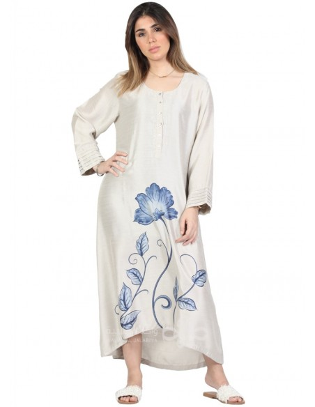 """""""Unique Style"""" Elegant cotton jilbab with embroidery on the chest (N-15925-8)"""