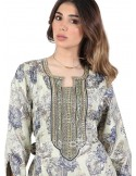 """I am Elegant"" Printed cotton jilbab with embroidery on the chest and cuffs (N-15853-15)"