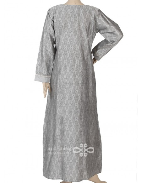 """Charming Breeze"" Comfortable printed cotton jilbab with emroidery on the chest (N-15900-1)"