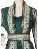 """""""Natural Elegance"""" Satin printed jilbab embellished on the chest and cuffs (N-15567-20)"""