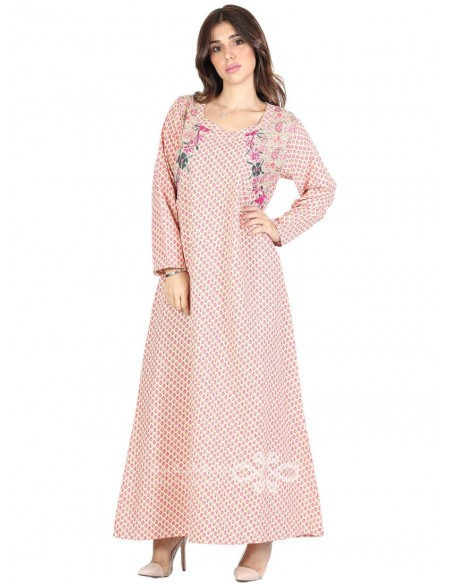 """Feel Gorgeous"" Velvet kaftan with an elegant embroidery on the chest (N-13895-20)"