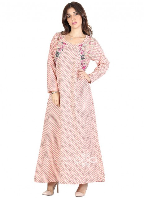 """Feel Gorgeous"" Velvet kaftan with an elegant embroidery on the chest (N-13895-20)"