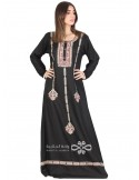 """""""Moroccan Inspiration"""" Elegant velvet fabric jilbab with golden embroidery and belt (NM-1386)"""