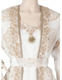 Like a Star Printed satin fabric jilbab ornamented on the chest and cuffs N-16228-17