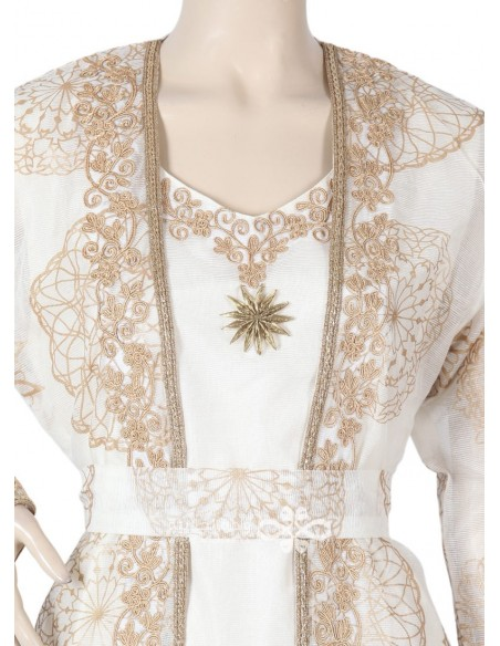 """""""Like a Star"""" Printed satin fabric jilbab ornamented on the chest and cuffs (N-16228-17)"""