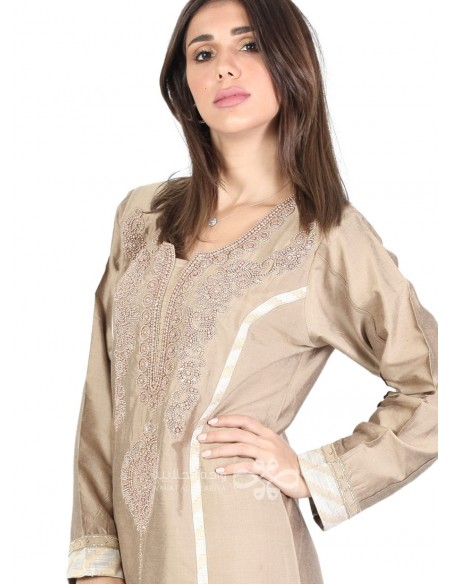 """Parfum de ma Vie"" Amazing brown and beige jilbab with embroidery and patchwork (N-16333-04)"