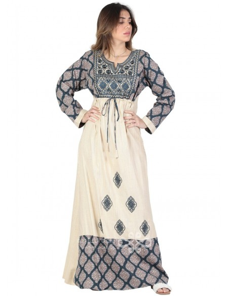 """Prettiest Girl"" Classy beige and brown jilbab embroidered on the chest (N-16331-01)"