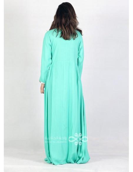 """Simple Design"" Elegant black cotton jilbab with colorful ribbons (N-16786-01)"