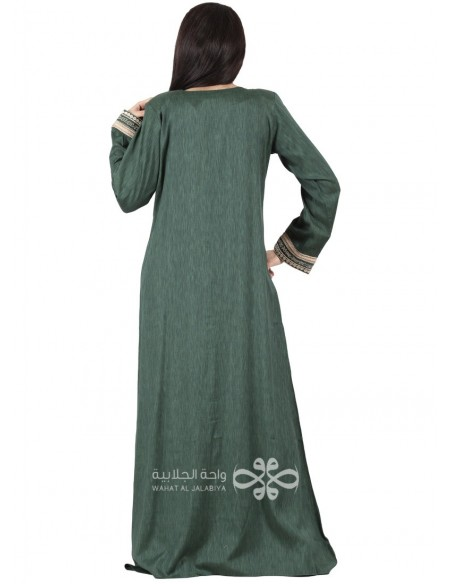 """""""Golden Light"""" Elegant floral fabric jilbab with machine embroidery (WN-1088-4)"""