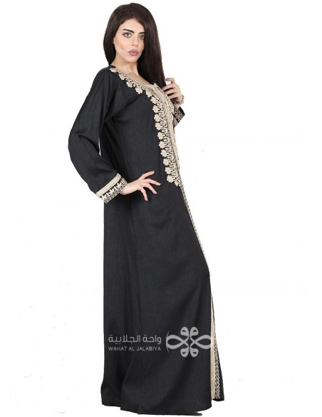"""I love Being Unique"" White and brown two-piece jilbab with belt (WN-1097-20)"
