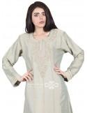 """I'm the Best"" White and black chiffon and lace jilbab (WN-1133-04)"
