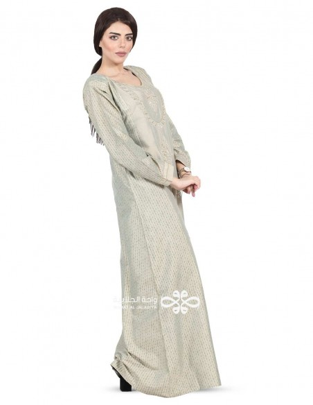 """Elegant in Traditional"" red, grey and golden jilbab with embroidery on the chest (N-16342-15)"