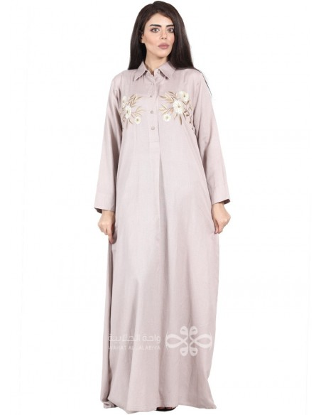 """The Sky is Mine"" White and blue cotton fabric jilbab with embroidery and belt (N-16862-11)"