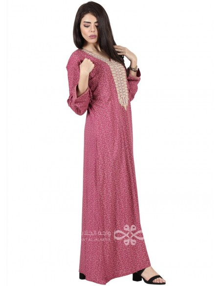 """""""Beauty Secret"""" Unique jilbab with ribbons on both sides and embroidery (N-16919-05)"""